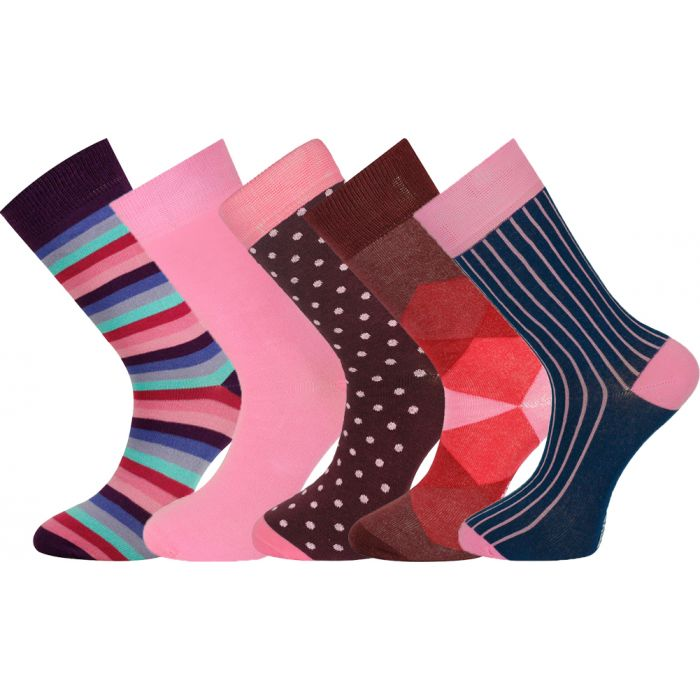 5 Pairs Mens Socks Red Design with Gift Box 7-11